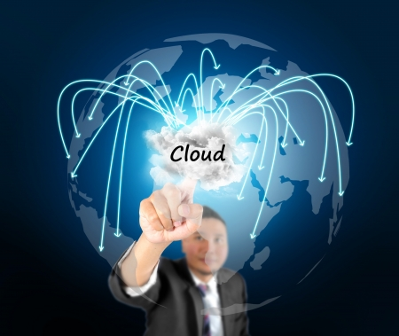 Business man touching cloud technology photo