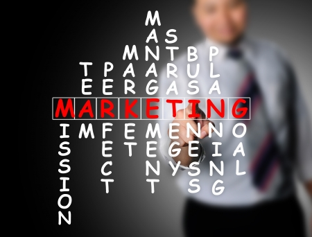 Business man touching marketing cossword photo