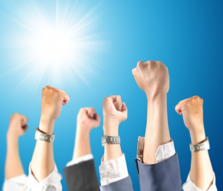 hand lifted: hand up of success Stock Photo