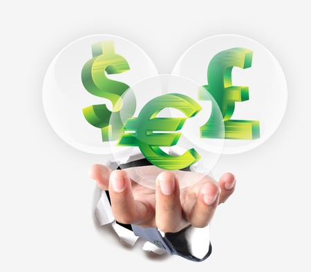 pound sterling: hand holding euro, pound sterling, dollar icon Stock Photo