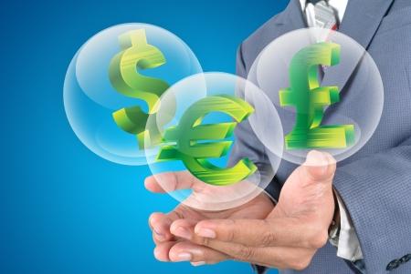 libra esterlina: Euro Business man holding, libra esterlina, dólar icono