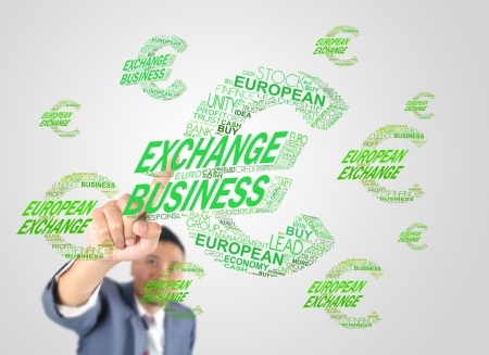 Business man designed euro money icon by crossword Stock Photo - 17846796