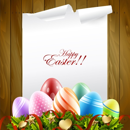wood pattern with easter eggs Vector