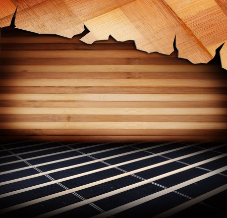 indoor background: Wood panels used as background  Room covered with wooden planks  Wooden walls and floor  With dark background  Stock Photo