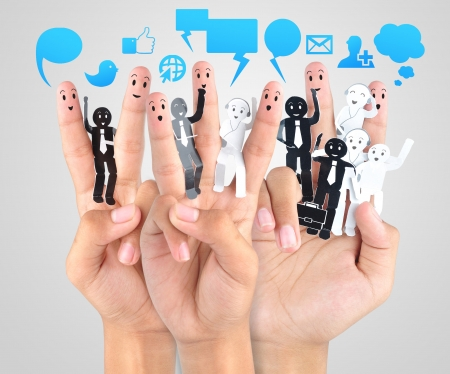 smile fingers for symbol of social network  Stock Photo - 18592819