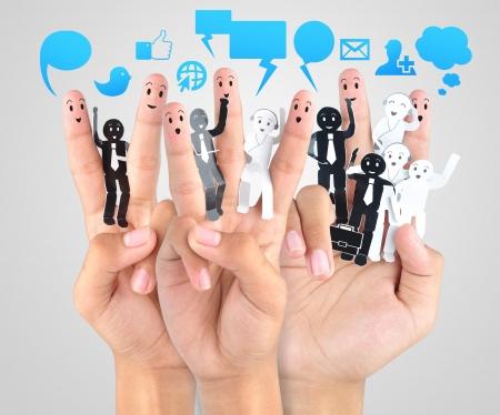 smile fingers for symbol of social network Stock Photo - 18592819