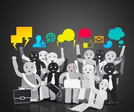 apoyo social: sonrisa humana para el símbolo de la red social