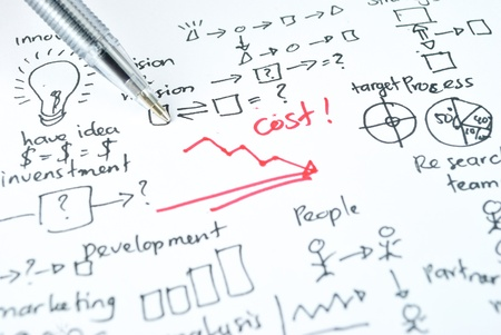 cost reduction: Drawing cost reduction with any process Stock Photo