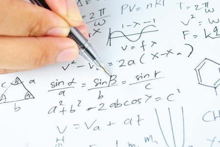trigonometry: Writing math and chemical science for study Stock Photo