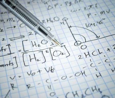 Writing math and chemical science for study photo
