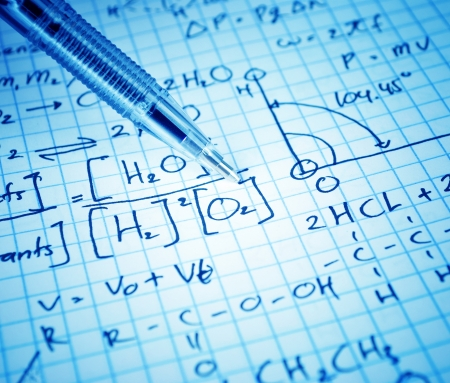 graph theory: Writing math and chemical science for study Stock Photo