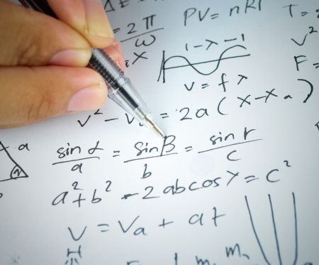 algebra: Writing math and chemical science for study Stock Photo