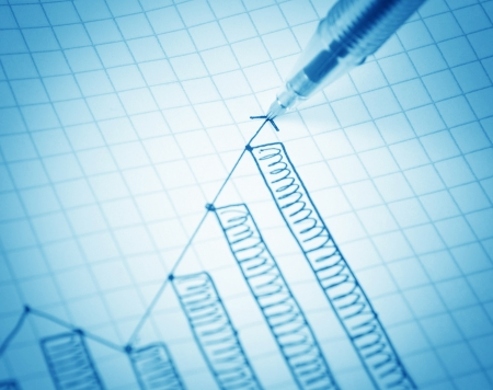 Drawing growth graph of success photo