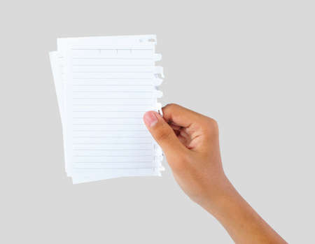 hand holding blank papers Stock Photo - 19059782