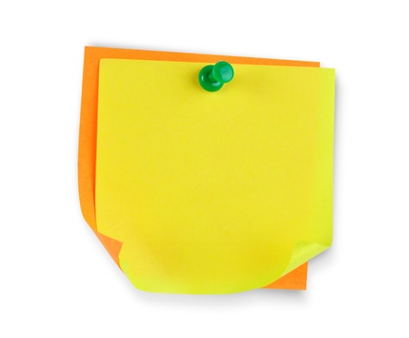 Blank colorful paper with pin  photo