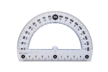 protractor: close up of rulers school supplies on white background Stock Photo