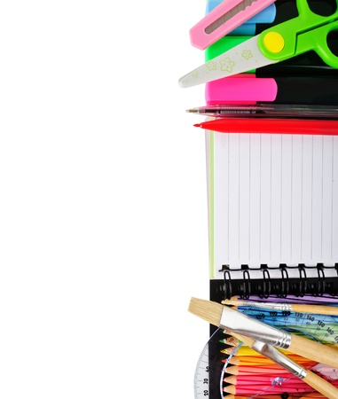 primary colours: School stationery isolated over white for layout design and copy space
