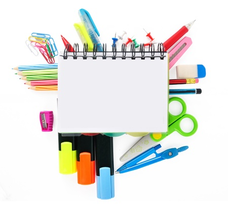 School stationery isolated over white for layout design and copy space photo
