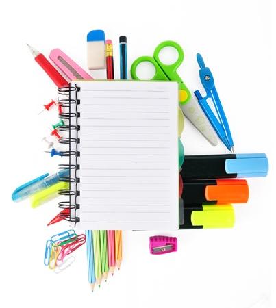 voortgezet onderwijs: School briefpapier geïsoleerd over wit voor lay-out ontwerp en kopieer de ruimte
