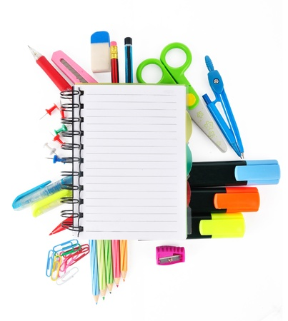 School stationery isolated over white for layout design and copy space