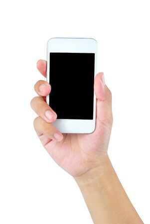 Hand holding mobile smart phone with blank screen Stock Photo - 19329194