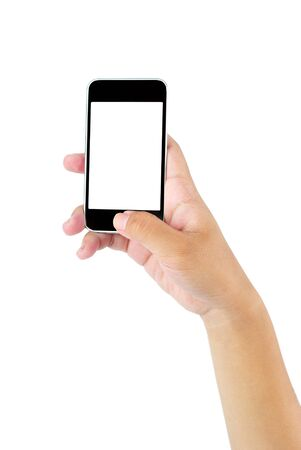 Hand holding mobile smart phone with blank screen Stock Photo - 19329186