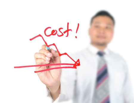 cost reduction: Business man drawing cost reduction