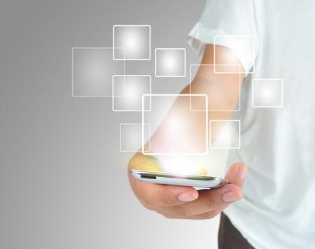 mobile application: Modern communication technology mobile phone  Stock Photo