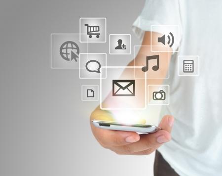 e systems: Modern communication technology mobile phone  Stock Photo