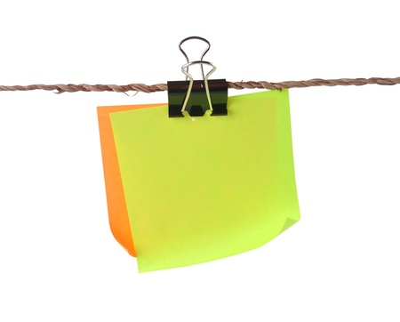 paper pin: Blank color papers with clip hang in small rope