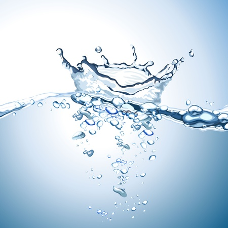 Water wave en splash achtergrond Vector Illustratie