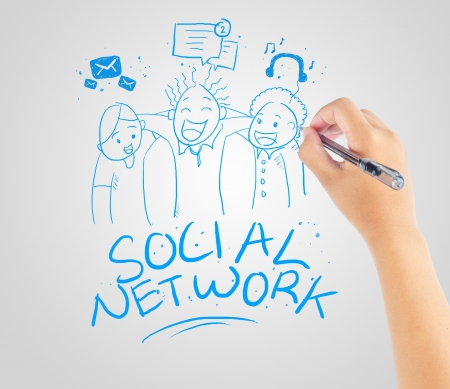 hand drawing social network community Stock Photo - 20196877