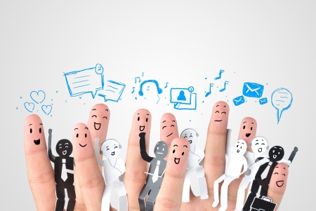 apoyo social: Dedo sonriente por un símbolo de red social empresarial Foto de archivo
