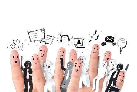 network marketing: Dedo sonriente por un s�mbolo de red social empresarial Foto de archivo