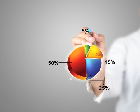 Businessman writing pie chart with any process in business work  photo