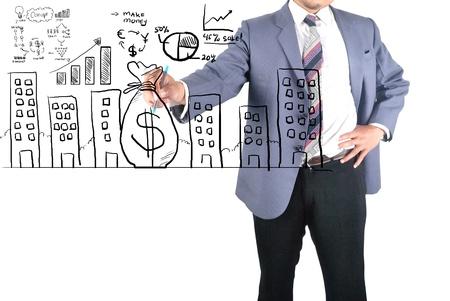 Empresario dibujo obtener dinero en cualquier proceso