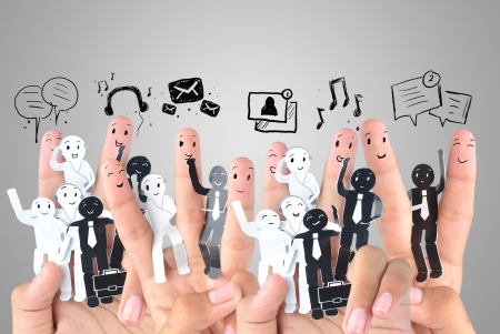 Smiling finger for symbol of business social network Stock Photo - 20022436
