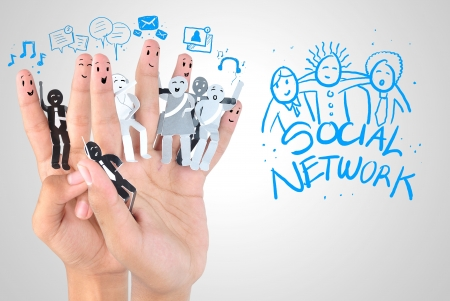 Smiling finger for symbol of business social network Stock Photo - 20022426