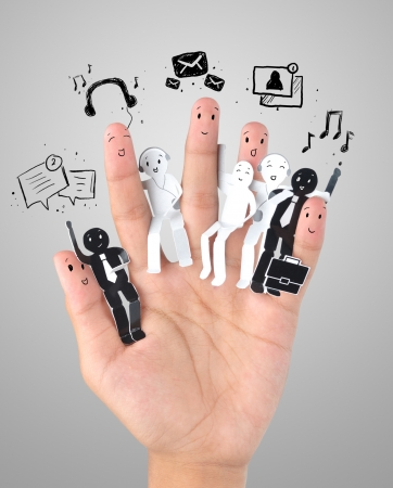Smiling finger for symbol of business social network Stock Photo - 20022417