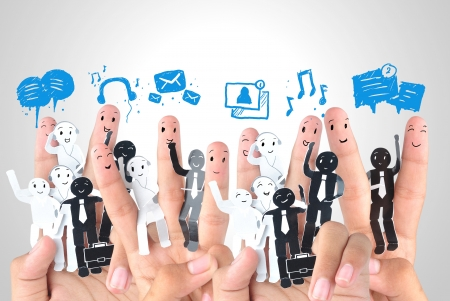 Smiling finger for symbol of business social network