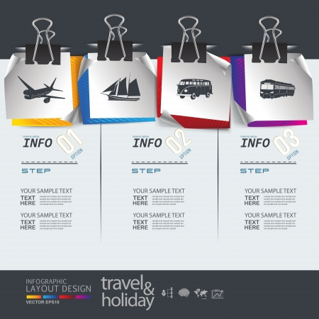 options: Abstract travel   holiday transportation element template  Illustration