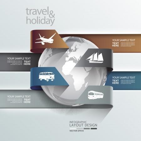 여행: 추상 세계 여행 휴일 교통 요소 서식 일러스트