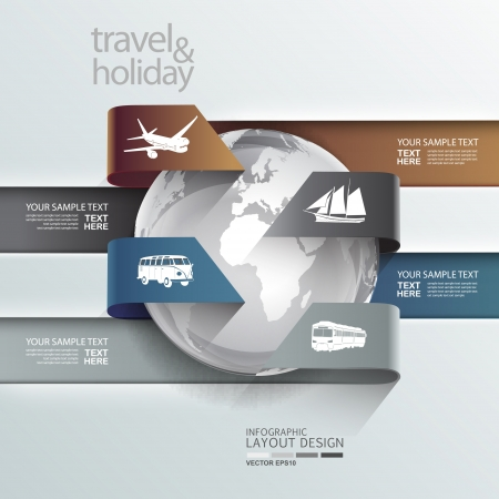 travel concept: Abstract globe travel   holiday transportation element template