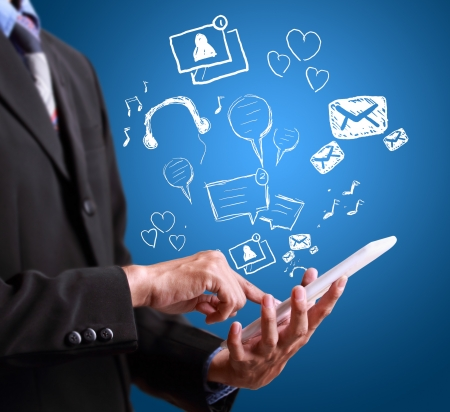 web application: business man playing modern mobile phone application  Stock Photo