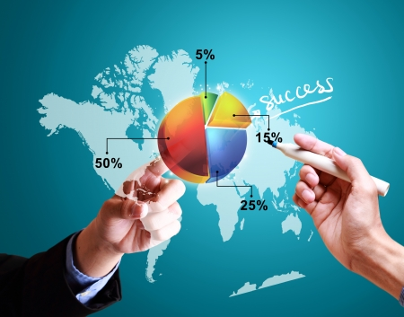 hands pushing strategy with pie chart diagram structure worldwide photo