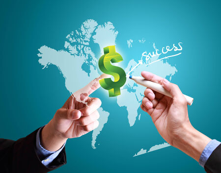 banking information: hands pushing finance structure worldwide