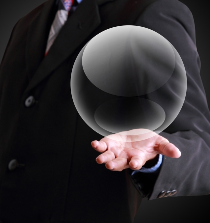 Business man holding crystal ball template  Standard-Bild