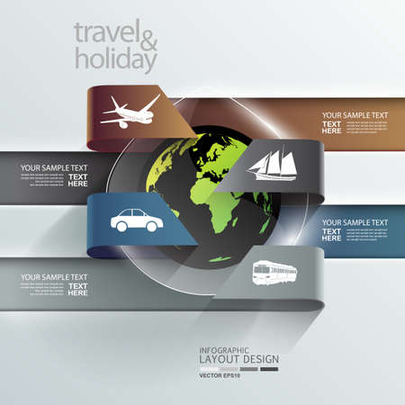 web design banner: Abstract globe infographic holiday   travel transportation element template  Vector eps10  can be used for workflow layout, background, number options, step up options, web design, banner  Illustration