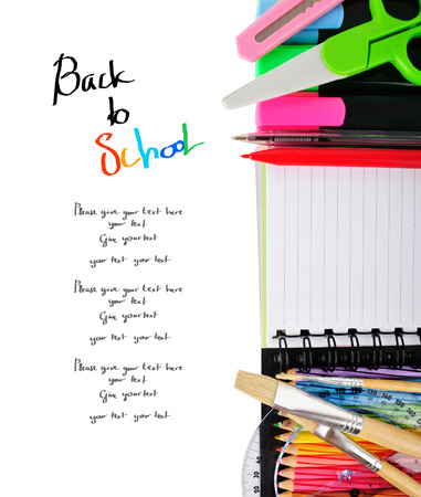 School stationery isolated over white with copy space  photo