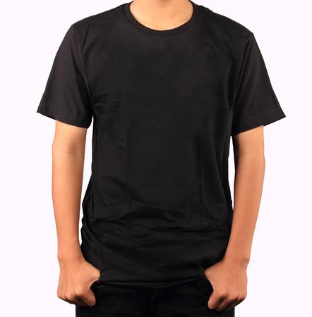 Black t-shirt template Imagens